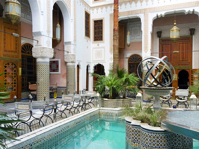 Moroccan tiled pool