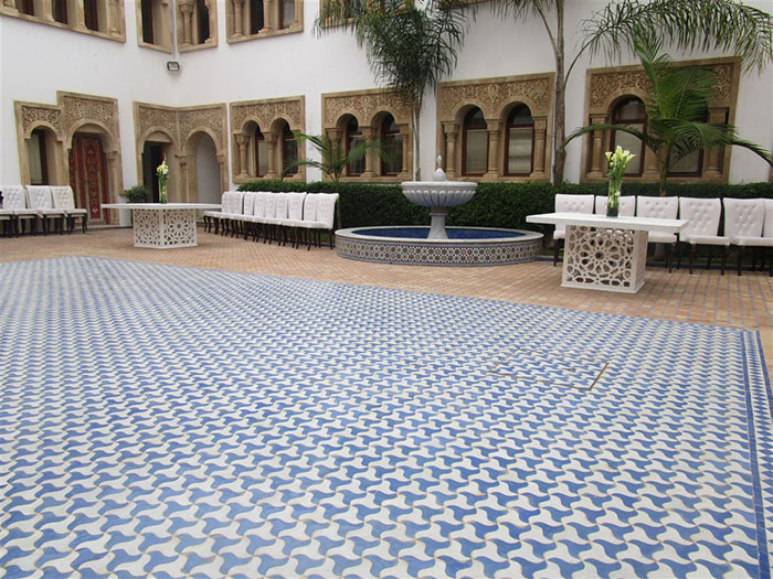 Moroccan tiled yard